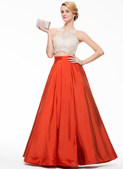 Ball-Gown Scoop Neck Floor-Length Taffeta Prom Dresses With Beading Appliques Lace Sequins