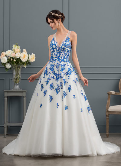 Ball-Gown V-neck Court Train Tulle Wedding Dress With Beading Sequins
