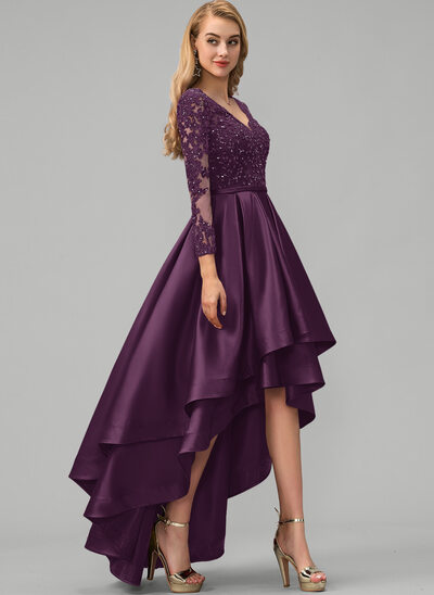 Ball-Gown/Princess V-neck Asymmetrical Satin Prom Dresses With Lace Beading Sequins