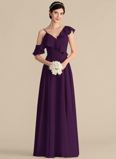 A-Line/Princess V-neck Floor-Length Chiffon Bridesmaid Dress With Cascading Ruffles