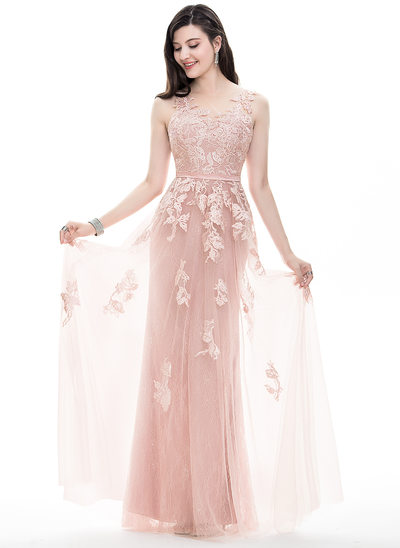 A-Line/Princess Scoop Neck Floor-Length Tulle Prom Dresses