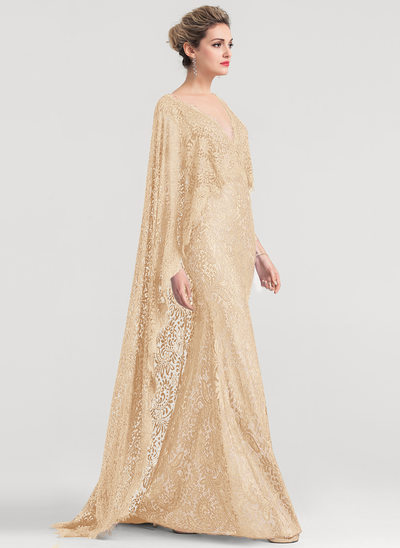 Trumpet/Mermaid V-neck Floor-Length Lace Evening Dress With Beading