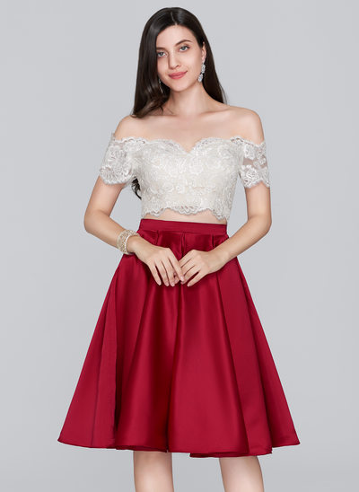 A-formet/Prinsesse Off-the-Shoulder Knelengde Satin Ballkjole