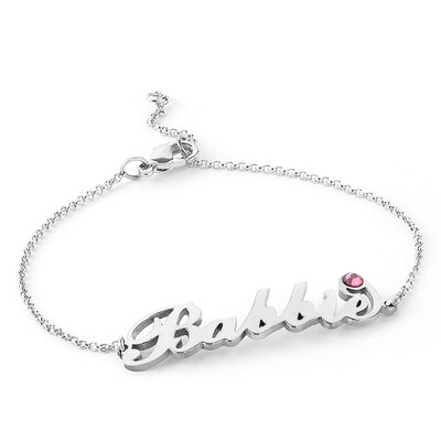 [Free Shipping]Christmas Gifts For Her - Custom Platinum Plated Sterling Silver Delicate Chain Name Bracelets Birthstone Bracelets