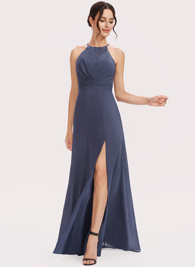 A-Line Halter Floor-Length Bridesmaid Dress With Lace Split Front