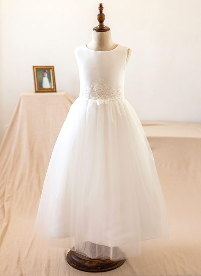 A-Line/Princess Tea-length Flower Girl Dress - Satin/Tulle/Lace Sleeveless Scoop Neck With Lace/Appliques