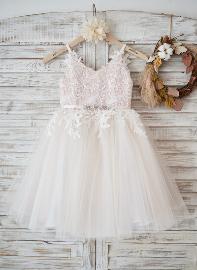 7351410e70b514 A-Line Knee-length Flower Girl Dress - Tulle Lace Sleeveless Straps With