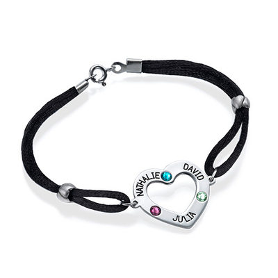 Custom Silver Link & Chain Engraved Bracelets With Heart Birthstone