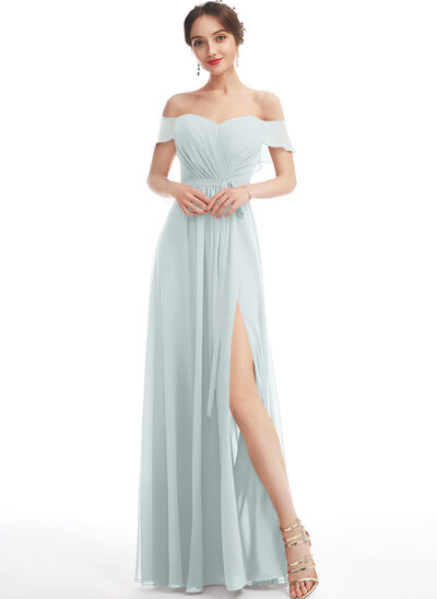 A-Line Off-the-Shoulder Floor-Length Bridesmaid Dress With Ruffle Split Front