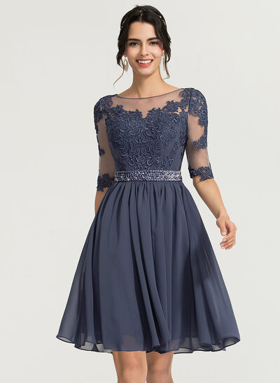 7c6b32ef57c A-Line Princess Scoop Neck Knee-Length Chiffon Cocktail Dress With Beading