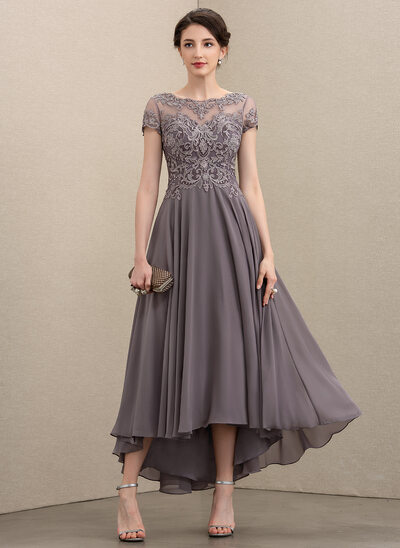A-Line Scoop Neck Asymmetrical Chiffon Lace Cocktail Dress With Beading Sequins