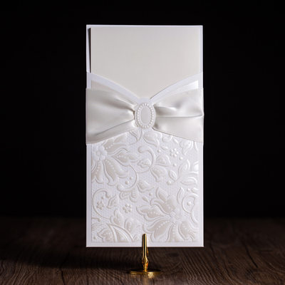 Floral Style Wrap & Pocket Invitation Cards