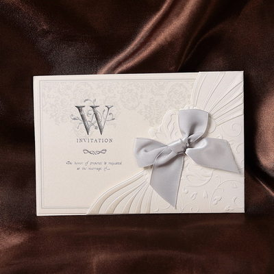 Floral Style Wrap & Pocket Invitation Cards With Bows (Set of 50)