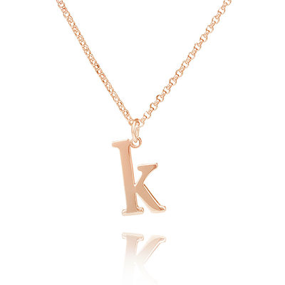 Custom 18k Rose Gold Plated Silver Letter Initial Necklace - Birthday Gifts Mother's Day Gifts