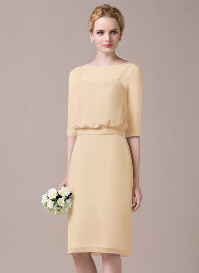 Sheath/Column Scoop Neck Knee-Length Chiffon Bridesmaid Dress