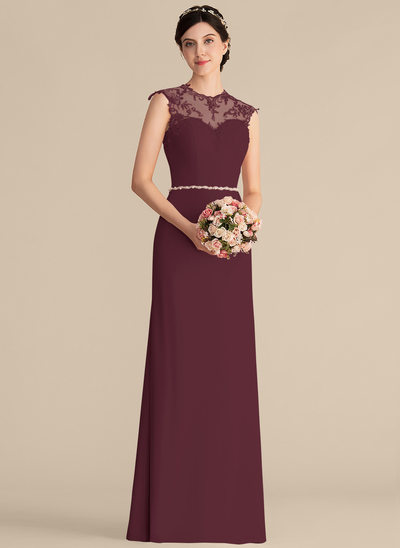 A-Line/Princess Scoop Neck Floor-Length Chiffon Lace Bridesmaid Dress With Beading