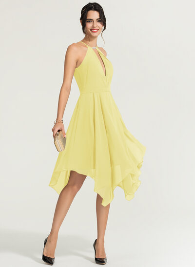 A-Line Scoop Neck Asymmetrical Chiffon Bridesmaid Dress With Beading