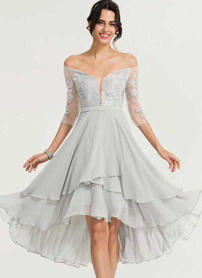 A-Linie Off-the-Schulter Asymmetrisch Chiffon Cocktailkleid