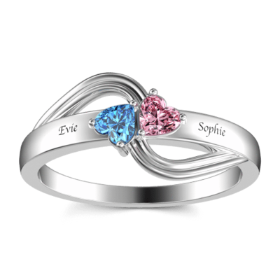Personalized Elegant S925 Sliver Heart Cubic Zirconia/Birthstone Rings For Bride/For Friends/For Couple