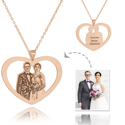 Custom 18k Rose Gold Plated Silver Heart Black And White Photo Engraved Heart Necklace Engraved Necklace Photo Necklace - Birthday Gifts