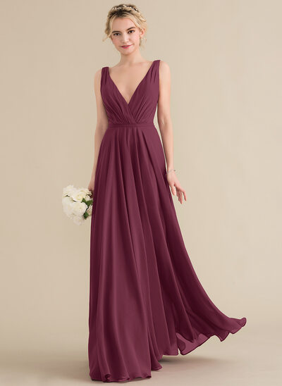 4212285a A-Line/Princess V-neck Floor-Length Chiffon Bridesmaid Dress With Ruffle