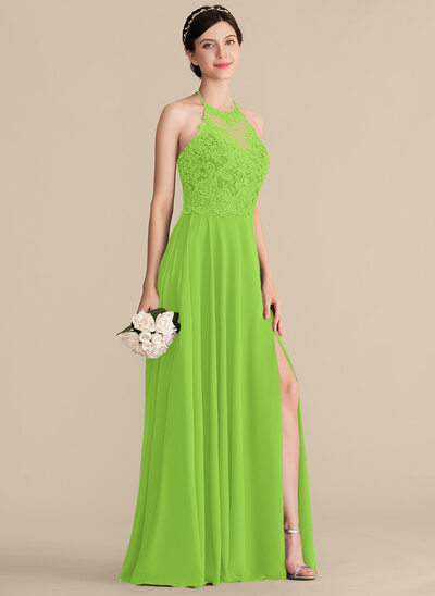 A-Line/Princess Halter Floor-Length Chiffon Lace Bridesmaid Dress With Bow(s) Split Front