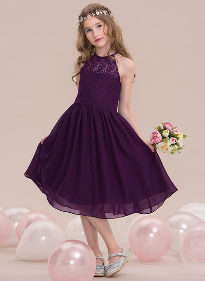 768e03a7f A-Line/Princess Scoop Neck Knee-Length Chiffon Junior Bridesmaid Dress