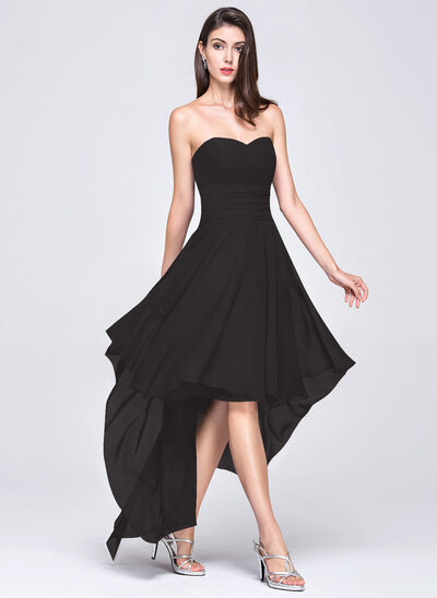 A-Line Sweetheart Asymmetrical Chiffon Evening Dress