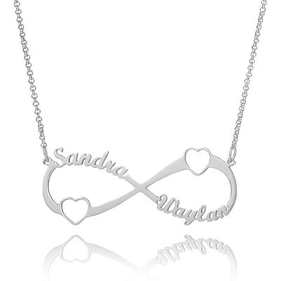 Custom Sterling Silver Hollow Carved Two Infinity Name Necklace With Heart - Birthday Gifts Mother's Day Gifts