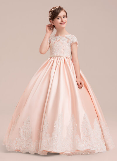 3b66dc326d126 Ball Gown Floor-length Flower Girl Dress - Satin Tulle Lace Short Sleeves