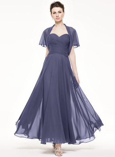 A-Line/Princess Sweetheart Ankle-Length Chiffon Mother of the Bride Dress With Ruffle