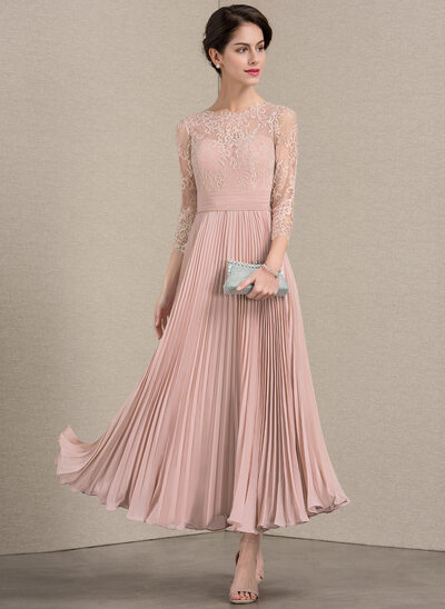 A Line Princess Scoop Neck Ankle Length Chiffon Lace Mother Of The Bride