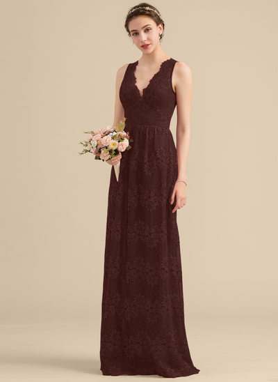 A-Line/Princess V-neck Floor-Length Lace Bridesmaid Dress