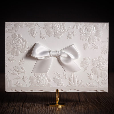 Classic Style Top Fold Invitation Cards With Bows (Set of 50)