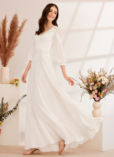 [Free Shipping]A-Line V-neck Floor-Length Wedding Dress With Lace