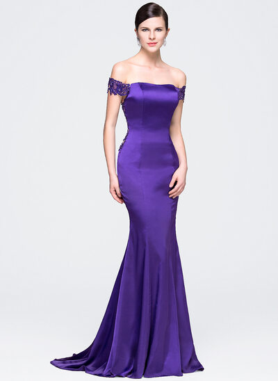 Trumpet/Mermaid Off-the-Shoulder Court Train Satin Prom Dresses With Beading Sequins