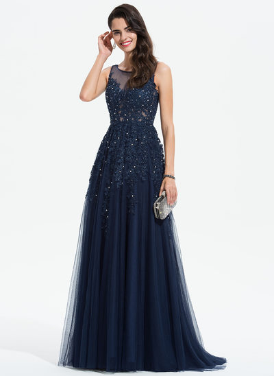 A-Line Scoop Neck Sweep Train Tulle Evening Dress With Lace Beading