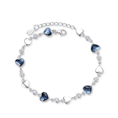 Ladies' Classic 925 Sterling Silver With Heart Cubic Zirconia Bracelets For Bride/For Bridesmaid