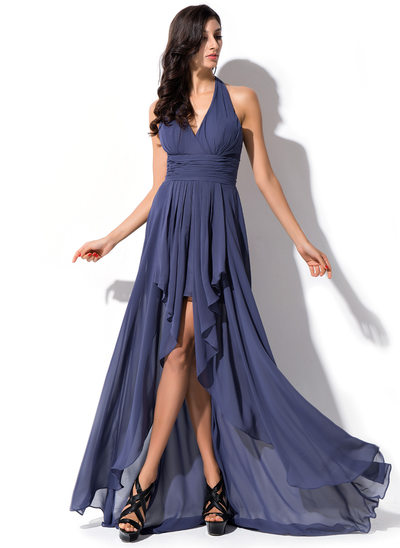 A-Line/Princess Halter Asymmetrical Chiffon Prom Dresses With Bow(s) Cascading Ruffles