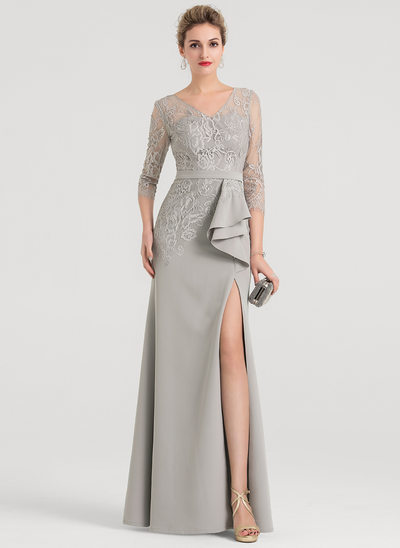 Sheath/Column V-neck Floor-Length Stretch Crepe Evening Dress With Split Front
