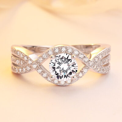 Sterling Silver Cubic Zirconia Infinity Round Cut Promise Rings