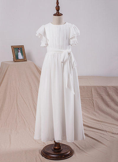 A-Line/Princess Floor-length Flower Girl Dress - Chiffon Short Sleeves Scoop Neck With Bow(s)