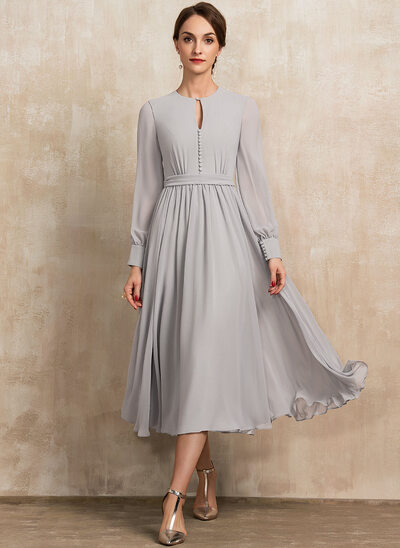 A-Line Scoop Neck Tea-Length Chiffon Mother of the Bride Dress With Bow(s)