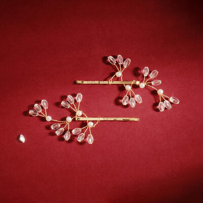 Ladies Beautiful Imitation Pearls Hairpins With Crystal (Set of 2)