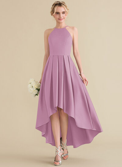 A-Line Scoop Neck Asymmetrical Satin Bridesmaid Dress With Ruffle