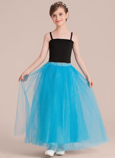 A-Line/Princess Ankle-length Flower Girl Dress - Tulle Sleeveless Square Neckline