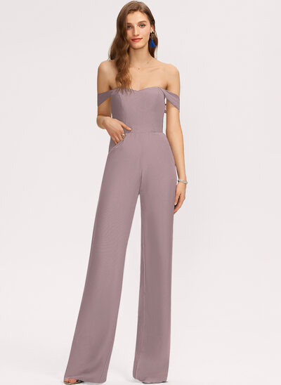 Off-the-Shoulder Floor-Length Chiffon Bridesmaid Dress With Pockets
