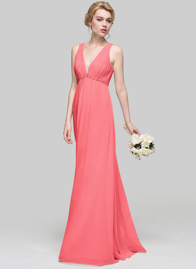 A-Line/Princess V-neck Floor-Length Chiffon Prom Dresses With Ruffle Beading Sequins Bow(s)