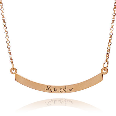Custom 18k Rose Gold Plated Silver Engraving/Engraved Two Bar Necklace Nameplate - Birthday Gifts Mother's Day Gifts