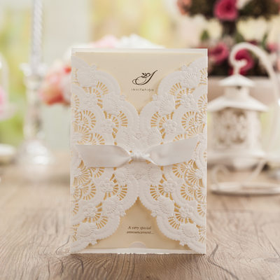 Artistic Style Wrap & Pocket Invitation Cards With Bows (Set of 50)